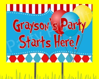 """18""""x12"""" Carnival or Hat Cat Party Lawn Sign"""