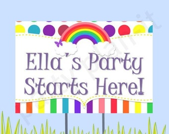 "18""x12"" Rainbow Party Lawn Sign"