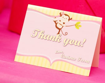 Set of 10 Curious Monkey Folded Thank You Cards
