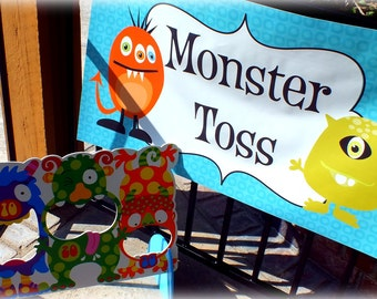 "36""x18"" Vinyl Banner Monster Party Sign or Wording of your choice CUSTOM"