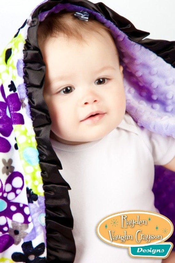 Plush Minky Baby Blanket Lovey Purple Posies with Satin Ruffles