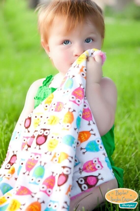 Plush Pink Baby Hooty Owls Blanket
