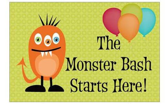 "18""x12"" Monster Birthday Party Lawn Sign"