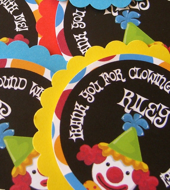 Set of 18 Clown Carnival Circus Jumbo Personalized Favor Tags