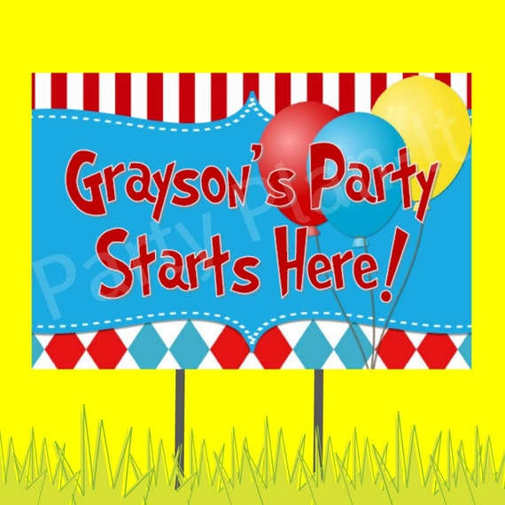 "18""x12"" Carnival or Hat Cat Party Lawn Sign"