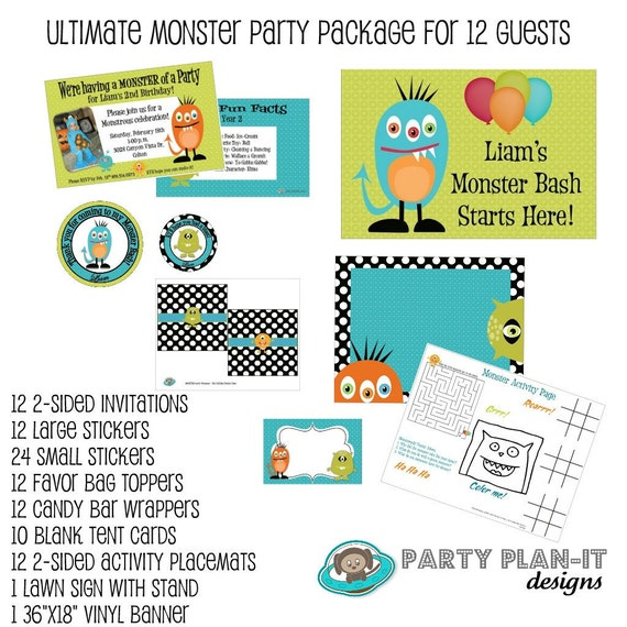 Ultimate Party Pack Monster Bash Birthday for 12