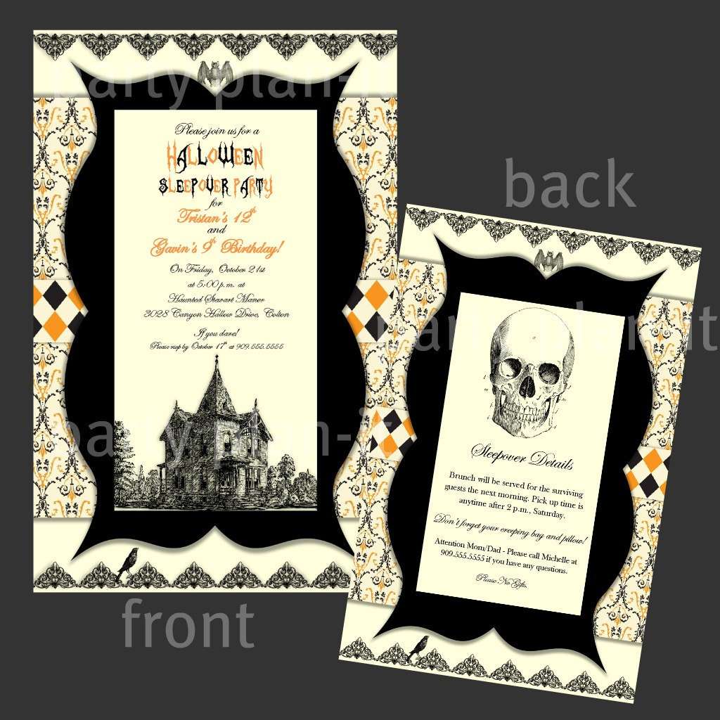 Set of 60 vintage halloween party invitations matching for Vintage halloween party invitations