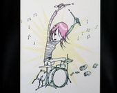 Handmade Greeting Card - Girl Drummer