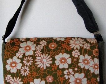 OLIVE Retro Orange and White Flower Print MESSENGER Book Laptop Diaper BAG