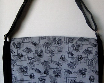 BLACK Old School MUSIC Print MESSENGER Book Laptop Diaper Bag