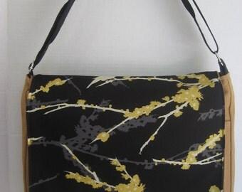 BLACK  Tan Bird  MeSSENGER Book Laptop Diaper BAG