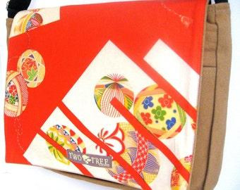 Tan Floral BALLS Japanese Print MESSENGER ipad Laptop Diaper BAG