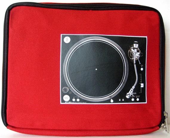 red dj turntable laptop sleeve case bag for 13 3 by twotreedesigns. Black Bedroom Furniture Sets. Home Design Ideas