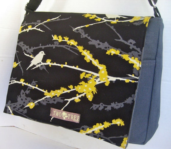 BLACK and Grey Bird  MeSSENGER Book Laptop Diaper BAG