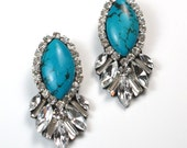 Statement earrings Turquoise and sawrovski crystal statement stud earrings