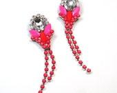 Colorblock Statement Earrings Neon Pink and Orange crystal chandelier dangle earrings