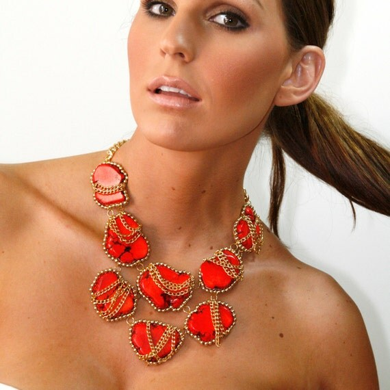 Turquoise Statement Necklace Red Turquoise Gold Big Large Chunky Turquoise Stone Statement Necklace