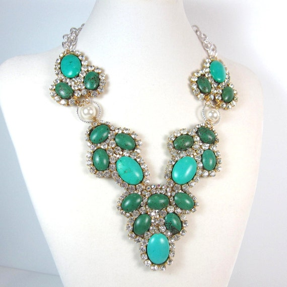 Statement Necklace turquoise and crystal beaded motif statement necklace