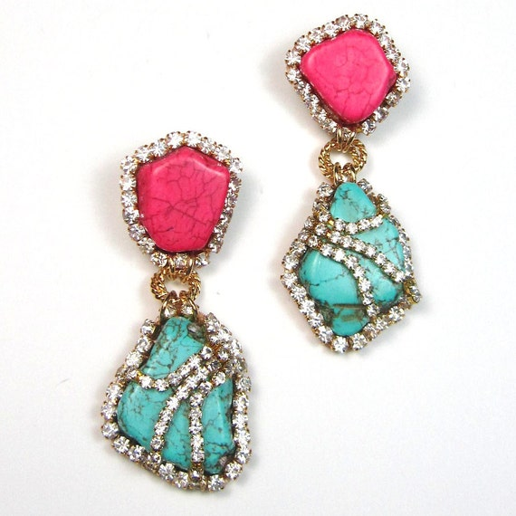 Statement earrings turquoise blue and pink crystal embellished earrings