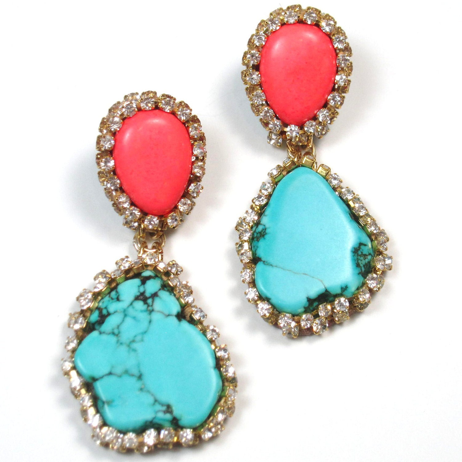 statement earrings turquoise coral and embellished