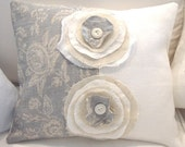"""French Linen ToiLe Blue Grey and White DouBLe FRaYeD FLoWeR 16"""" Down PiLLoW"""
