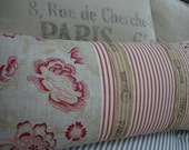 """Cottage FreNcH 12x24"""" Pillow/LineN ToiLe/Red Ticking/Lumbar/Throw Pillow/Loft/Urban/Bedroom/Shabby Chic/Beach"""