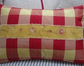 FReNCH ReD TaFFeTA DOWN Pillow SWeDisH CHecK Hand Stamped Ribbon Cottage Shabby Chic