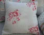 Cottage Shabby Chic  PILLOW COVER ONLY ..French ReD CaBBage Roses