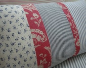 CoTTaGe  Blue Ticking and FLoWeRs  ShaBBy ChiC Red French Toile 12 X 20 PiLLoW
