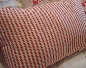 Cottage French Ticking Pillow Beach Vintage Shabby Chic Red and Cream