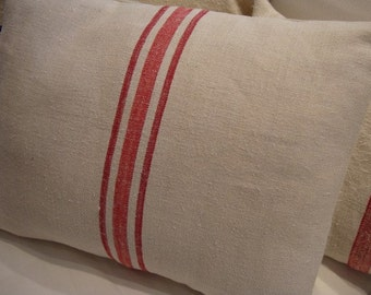 European VinTaGe GRAINSACK Pillow/DOWN INSERT/FrenCH Cottage/Shabby Chic/Red Stripe/Urban/Rustic/Throw Pillow/Coastal