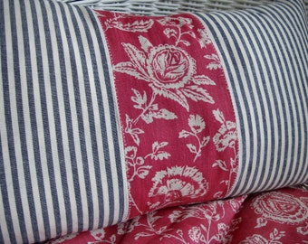 PaRiS FrencH ReD Cottage Shabby Chic LiNeN ToiLe and TiCKiNG PiLLoW