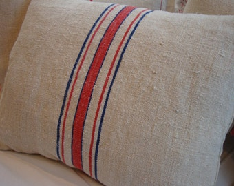 European Vintage GRAINSACK Down Pillow/French Cottage/Paris Shabby Chic/Red Blue Stripe/Ticking/Lumbar/Bedroom/Farmhouse/Loft/Urban