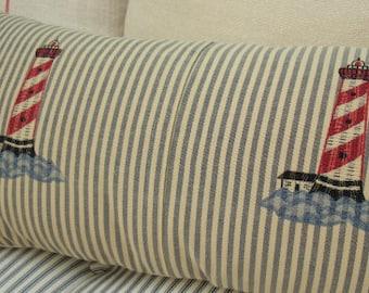 NAuTiCaL CoASTaL 20x12 PilloW TicKiNG Shabby Chic Cottage LiGHtHoUSe