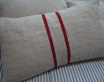 European Vintage GRAINSACK Cottage Paris Shabby Chic Red Stripe with 12x16 Pillow Insert