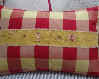 FReNCH ReD TaFFeTA/DOWN Pillow/SWeDisH/CHecKered/Hand Stamped/Ribbon/Cottage Shabby Chic/Lumbar/Bedroom/Traditional
