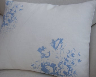 PaRiS Blue Pillow/CaBBaGe RoSeS/FrencH Decor/WHITE Linen/Cottage Pillow/Shabby Chic/Nursery/Lumbar Pillow/Throw Pillow/Bedroom