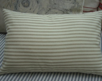 PaRiS FrencH Cottage Beachy PiLLow Shabby Chic Caramel and Cream Ticking 11x16 Insert