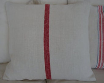 "Grainsack 20"" DowN Pillow Cottage Paris Shabby Chic Red Stripe"