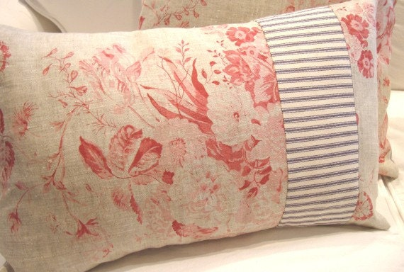 FRenCH BLuE TiCKinG and ReD ToiLE CoTTaGe SHaBBY CHiC PiLLow