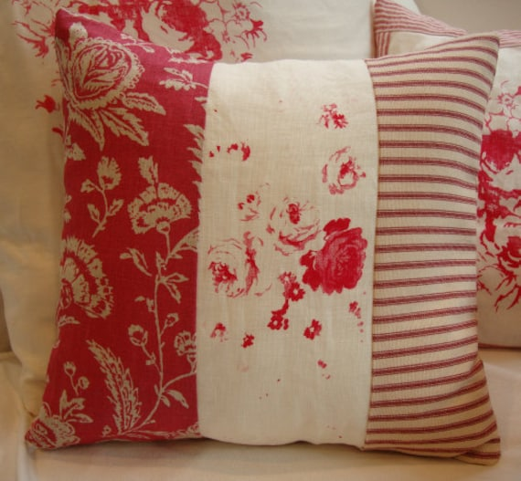 Red toile cottage ticking and linen shabby chic roses pillow for Toile shabby chic