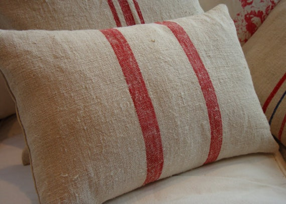 Vintage GRAINSACK PiLLoW Cottage Paris Shabby Chic Red Stripe 11x16 Insert