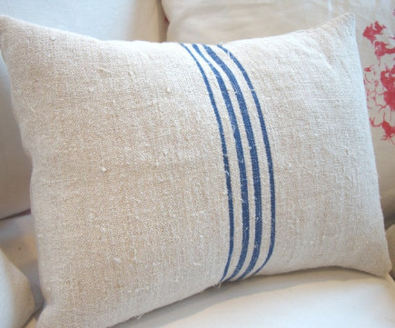 European ViNTaGe GRaiNSacK 11x16 French Blue Stripe CoTTage Shabby Chic PiLLoW