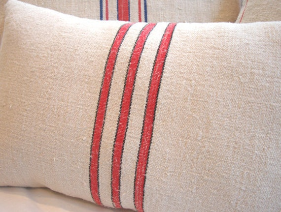 Vintage GRAINSACK Cottage PiLLoW Paris Shabby Chic Red Stripe and Ticking 14x18 Insert