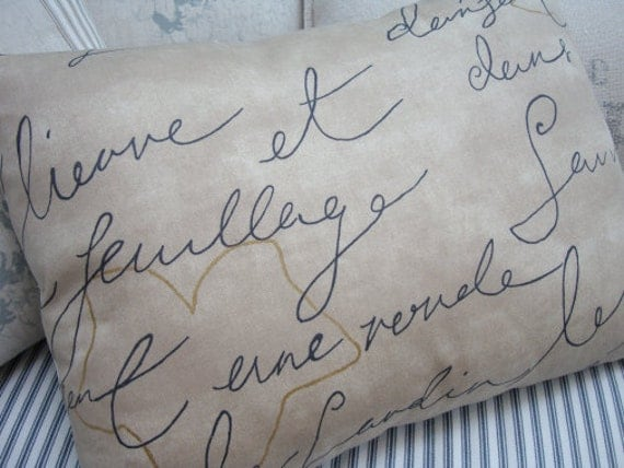 PaRiS FRenCH SCriPT & TicKinG PiLLoW Cottage ShaBBy Chic 14x18 Insert