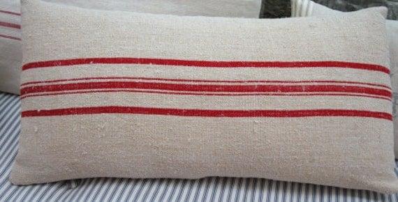 Vintage Grainsack 24x12 Cottage Paris Shabby Chic Red Stripe Faux Down Pillow Insert