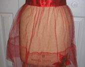 Vintage 1950s Red Net Christmas Plastic Poinsettia Apron