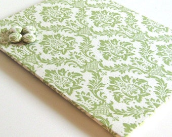 Magnet Board covered in Green and Cream Damask Fabric 8.5 inch  x 11 inch - bulletin board note board command center office organizer