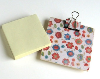 Magnetic Sticky Note Holder - Sweet Floral