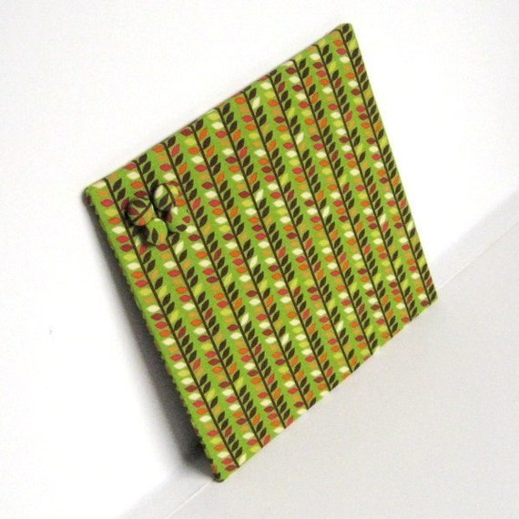Fabric covered Magnet Board - Leaves and Stems Fabric 10 inch  x 10 inch